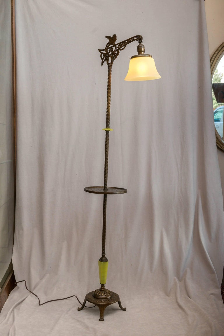 Art Deco Bridge Lamp With Vaseline Gl Components And A Shade For