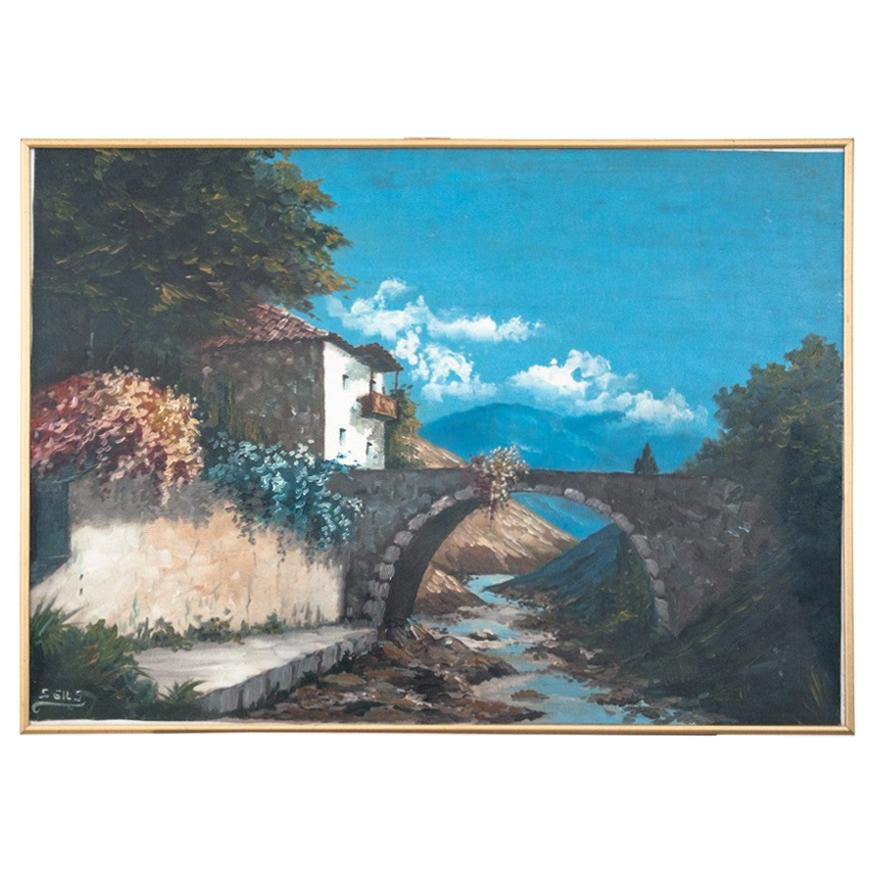 """Bridge over a stream"" Painting"