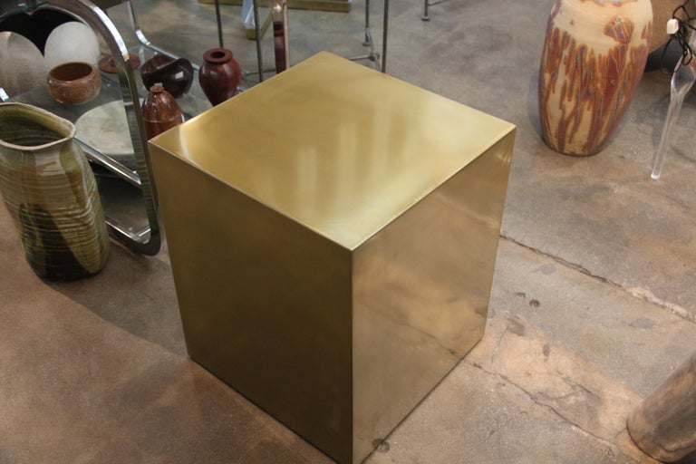 American Bridges over Time Originals Brass Coated Cube Table For Sale