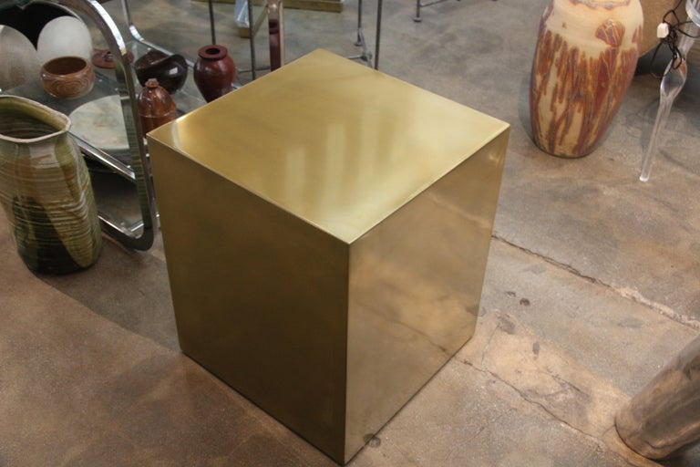 Bridges over Time Originals Brass Coated Cube Table In Good Condition For Sale In Palm Springs, CA