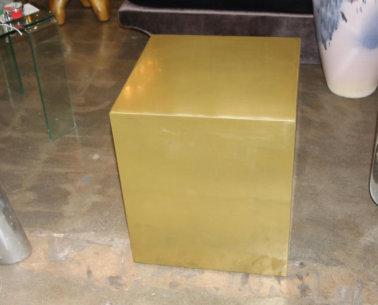 Bridges over Time Originals Brass Coated Cube Table For Sale 1