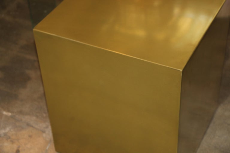 Bridges over Time Originals Brass Coated Cube Table For Sale 2