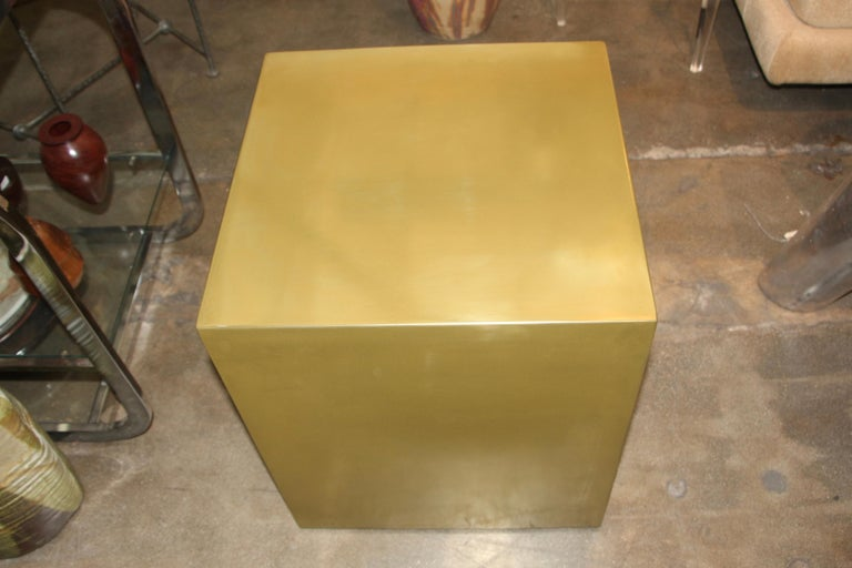 Bridges over Time Originals Brass Coated Cube Table For Sale 3