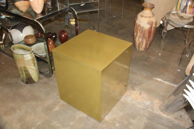Bridges over Time Originals Brass Coated Cube Table For Sale 4