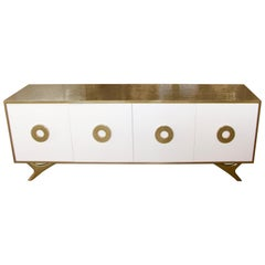 Bridges over Time Originals Custom Prototype Cerused Oak Brass Lacquer Credenza