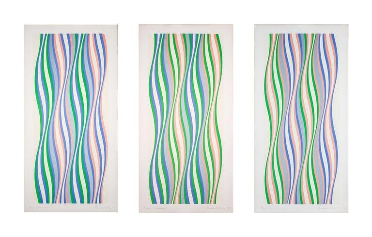 Blue, Green, Red Dominance - Print by Bridget Riley