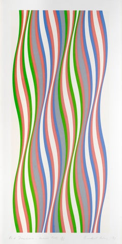 Red Dominance - Op Art, Print, Screenprint, Contemporary Art, Bridget Riley