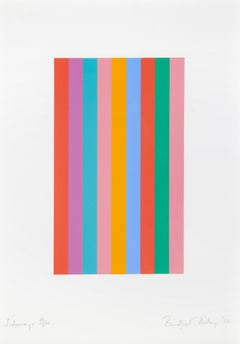 Sideways -- Screen Print, Stripes, Bright Colors, Op Art by Bridget Riley
