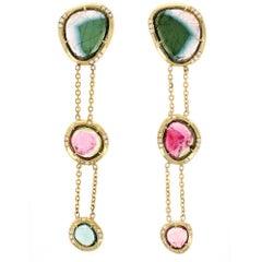 Bridgette 18 Karat Yellow Rosecut Tourmaline and Natural Pavé Diamond Earrings