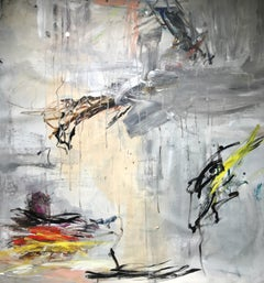 Subconscious - original oversized gray abstract painting by Bridgette Duran