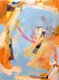 Untitled (Baby Blue), Blue orange painting, abstract, pastel, acrylic, oil