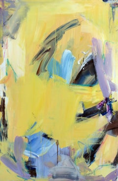 Untitled (Lemon) abstract, purple, blue, pastel, painting