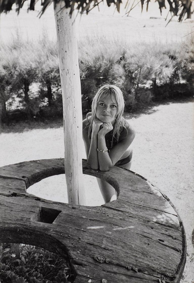 Original 1950s French vintage black and white publicity photograph of Brigitte Bardot.