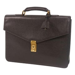 briefcase  Womens  business bag  black x gold hardware Leather