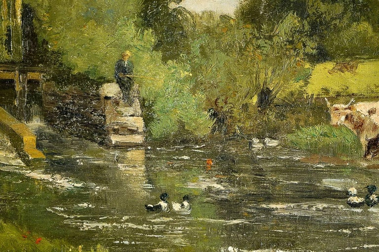 Brielman Jacques Alfred, Old Mill by a River, Oil on Canvas, circa 1860-1870 For Sale 2