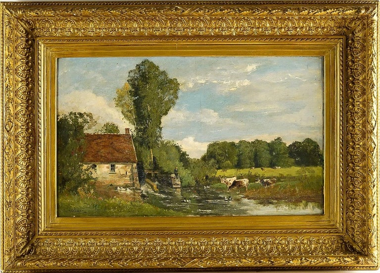A beautiful and decorative painting depicting a rural landscape with an old mill by the river. An excellent romantic landscape which proposes us, Jacques Brielman.  Our painting signed on a lower left Jacques Brielman; it is in its original gilt