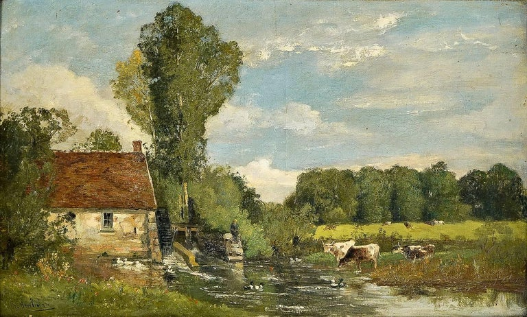 Barbizon School Brielman Jacques Alfred, Old Mill by a River, Oil on Canvas, circa 1860-1870 For Sale