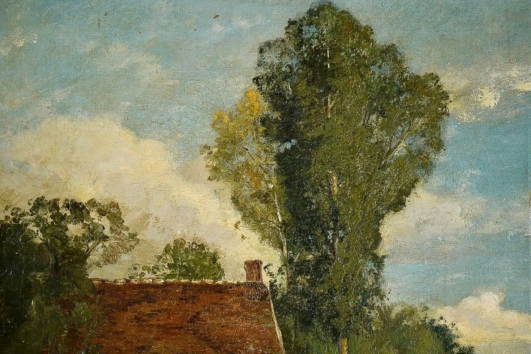 French Brielman Jacques Alfred, Old Mill by a River, Oil on Canvas, circa 1860-1870 For Sale