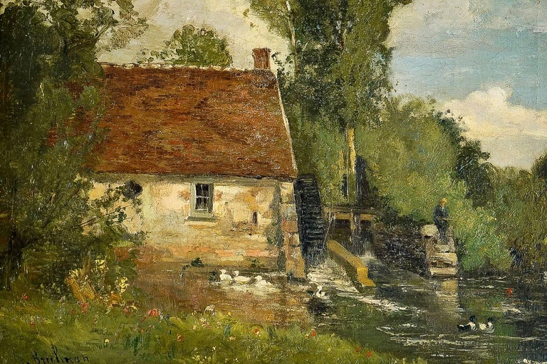 Oiled Brielman Jacques Alfred, Old Mill by a River, Oil on Canvas, circa 1860-1870 For Sale