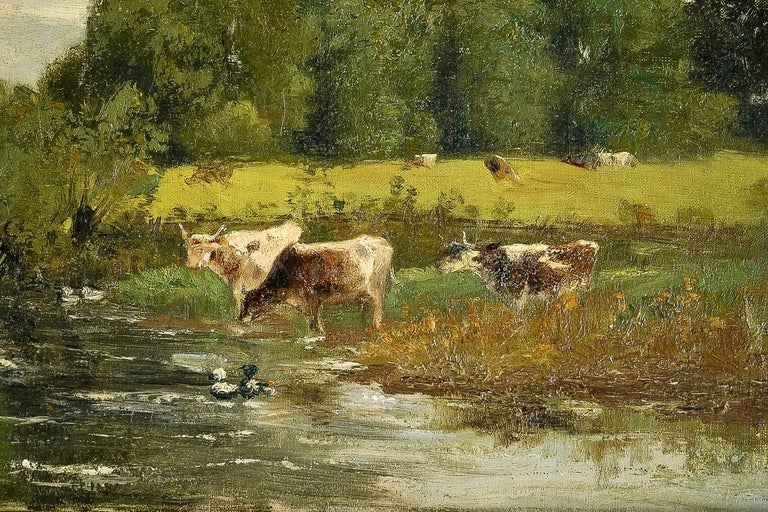 Brielman Jacques Alfred, Old Mill by a River, Oil on Canvas, circa 1860-1870 For Sale 1