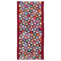 Bright and Multi Colors Vintage American Hooked Rug with Checkerboard Design