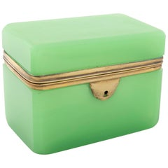 Bright Apple Green Opaline Glass Box with Bronze Mounts
