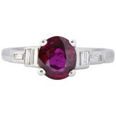 Bright Art Deco 1.61 Carats Ruby Diamond Platinum Cocktail Ring