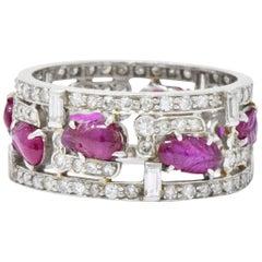 Bright Art Deco Diamond Carved Burmese Ruby Platinum Band Ring