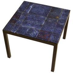 Bright Blue Ceramic Tile Square Italian Side Table on Black Metal Frame