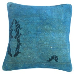 Bright Blue over Dyed Square Turkish Rug Pillow