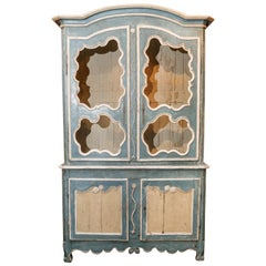 Bright Blue Painted Antique French Buffet Deux Corps