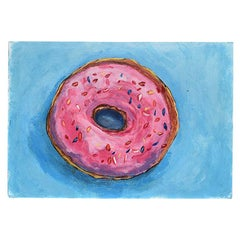 Bright Bold Blue and Pink Outsider Painting of Donut 20th Century