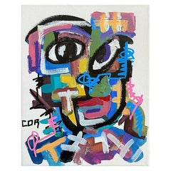 Bright Bold Color Postmodern Cubist Portrait Painting on Canvas, Signed