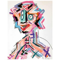 Bright Bold Postmodern Cubist Abstract Portrait Painting, Signed