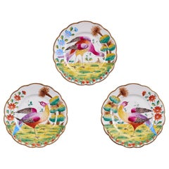 Bright, Colorful Vintage Set of 3 Hand Painted Austrian Ceramic Plates