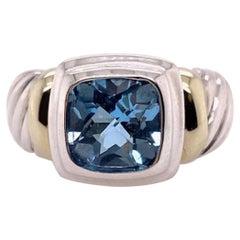Bright David Yurman Topaz, Silver and Gold Ring