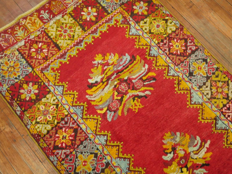 Bright Floral Turkish Runner For Sale 4