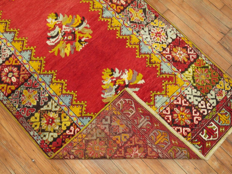 A one of a kind Turkish runner with a dazzling array of fruitful and bright colors and wild border. This piece was meant to give happy and joy to all its owners.
