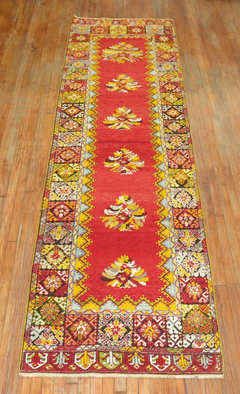Romantic Bright Floral Turkish Runner For Sale