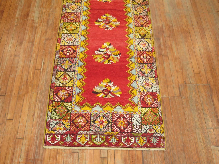 Hand-Woven Bright Floral Turkish Runner For Sale