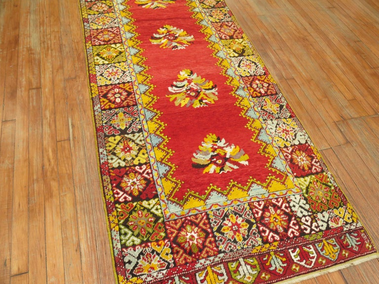 Bright Floral Turkish Runner In Excellent Condition For Sale In New York, NY