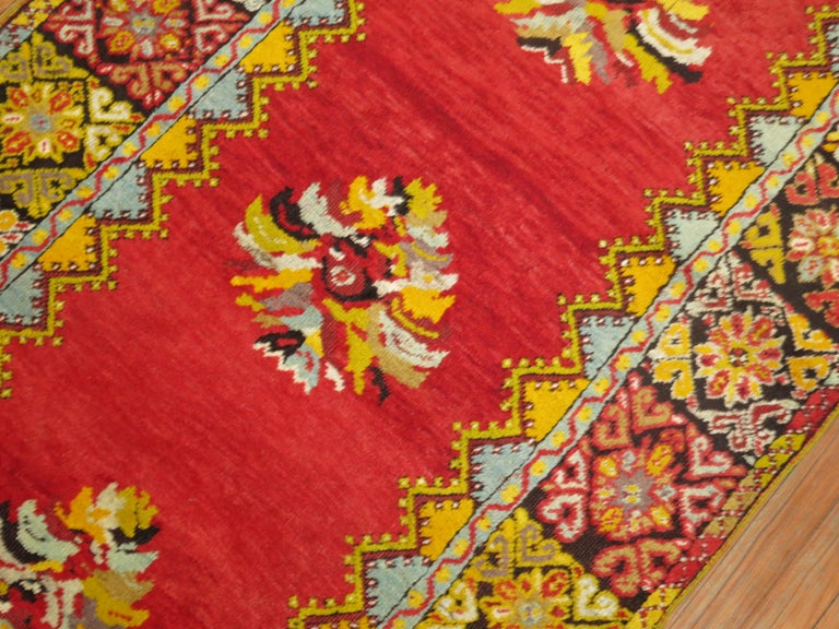 20th Century Bright Floral Turkish Runner For Sale