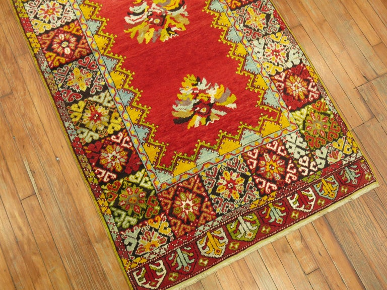 Wool Bright Floral Turkish Runner For Sale