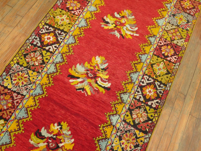 Bright Floral Turkish Runner For Sale 1