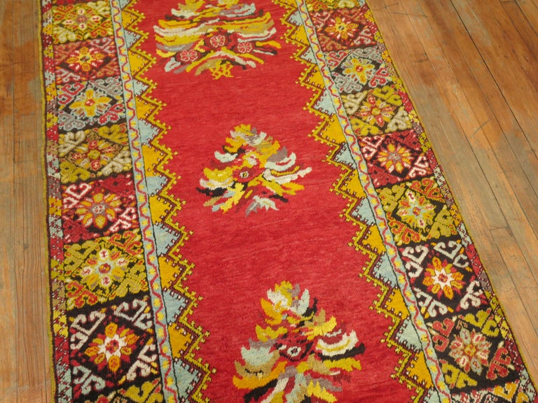Bright Floral Turkish Runner For Sale 2