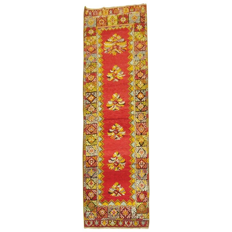 Bright Floral Turkish Runner For Sale