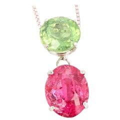 Bright Green Tourmaline and Glittering Pink Tourmaline Sterling Silver Pendant