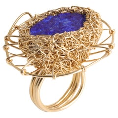 Bright Lapis Lazuli Yellow Cocktail Statement Ring by Sheila Westera in Stock