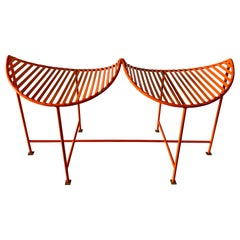 Bright Orange and Brass Feet Eyelash Iron Bench