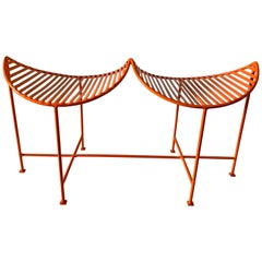 Bright Orange Eyelash Iron Two-Seat Bench